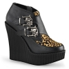 CREEPER-306 Black Vegan Leather/Leopard Print